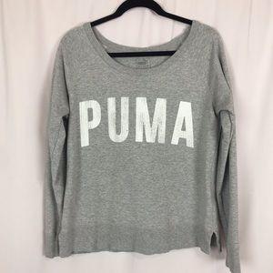 PUMA Gray Long Sleeve Crew Neck Sweatshirt Sz M